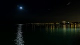 Full moon above lake Michigan