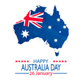 26 January Happy Australia Day. Retro Grunge Background and Flag Illustration and Vector Elements National Concept Greeting Card, Poster or Web Banner Design - 132257055