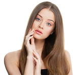 Spa Model Woman with Healthy Skin and Long Hair Isolated. Skinca