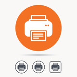 Printer icon. Print documents technology symbol. Orange circle button with web icon. Star and square design. Vector