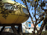 Abandoned UFO round yellow houses in Wanli, Taiwan futuristic village
