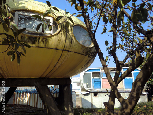 Abandoned UFO round yellow houses in Wanli, Taiwan futuristic village Poster