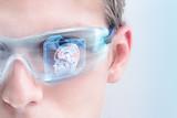 Futuristic doctor analyzing brain activity