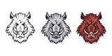 Wild Boar, isolated on white background, colour and black white illustration, suitable as logo or team mascot - 132274269