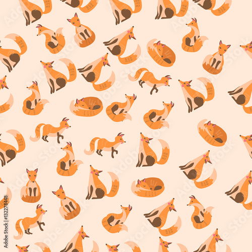 Cotton fabric vector illustration of a cute fox