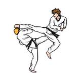 Taekwondo Fight. A hand drawn vector cartoon illustration of 2 guys martial art sparring.
