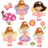 Cute little garden fairy vector cartoon illustration