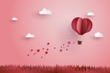 Origami made hot air balloon and cloud - 132279637