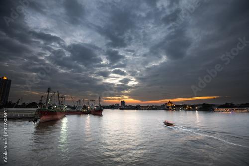 Poster Chao Phraya river view at sunset period, Bangkok Thailand