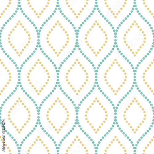 Seamless vector ornament. Modern background. Geometric pattern with repeating light blue and golden dotted wavy lines - 132284274