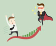Detaily fotografie Super businessman dare you to success in your work ,vector illustration business cartoon