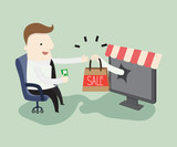 Shopping online ,vector illustration exchange e-commerce cartoon