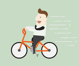 Businessman riding bike ,vector illustration cartoon