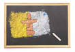 Blackboard with the national flag of Nunavut drawn on.(series)