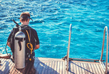 Diver preparing to dive into the ocean - 132293860
