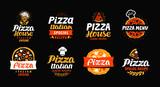 Pizza logo, label, element. Pizzeria, restaurant, food set icons. Vector illustration