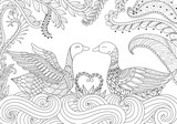 Two swans playing together on the river. Happy Valentines day. Adult coloring book pages for anti stress