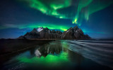 Stokksnes Northern Lights Green Reflection - ICELAND