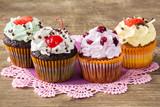 Four homemade cupcakes