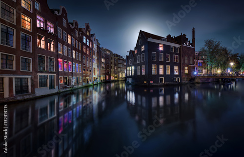 Poster Moonlight over Amsterdam - Netherlands