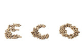 eco fonts written with wood pellets