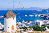 View of Mykonos and the famous windmill from above, Mykonos island, Cyclades, Greece - 132320458