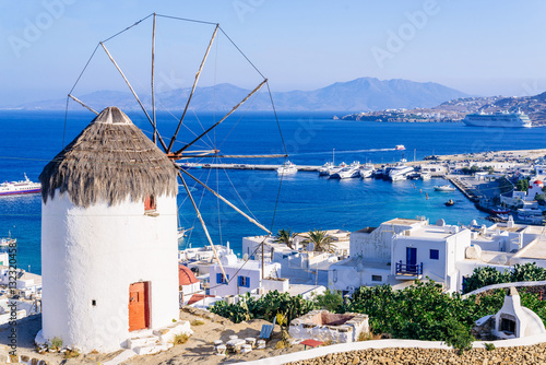 Fototapety, obrazy : View of Mykonos and the famous windmill from above, Mykonos island, Cyclades, Greece