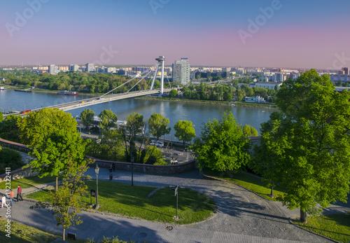 Poster New bridge over Danube river in Bratislava,Slovakia at sunset