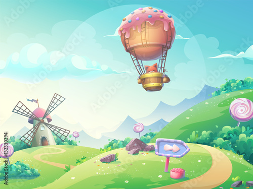 Aluminium Boerderij Vector illustration landscape with fox in blimp