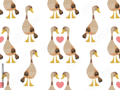 Cotton fabric Ducks in love seamless pattern