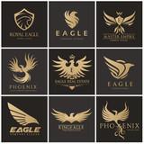 Bird and wing logo collection. Eagle logo and wing symbols,Bird logo set,Vector logo template