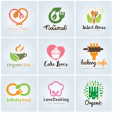 Food and beverages logo design set, Love food and cake logo, organic food logo template.