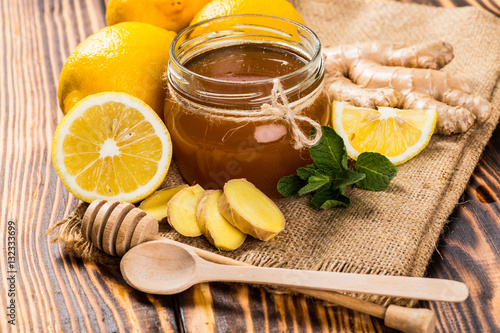 Poster Honey with lemon and nuts.