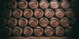 Wooden barrels background. 3d illustration - 132334897