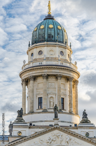 Poster View on German Cathedral at Gendarmenmarkt square on a crips winter day with dra