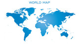 Blank blue world map isolated on white background. World map vector template for website, infographics, design. Flat earth world map illustration.