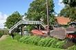 wooden boat in Dutch landscape in Friesland