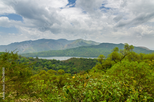 Mountain lake at the Ring Road highlands in Cameroon, Africa Poster