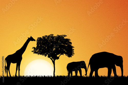 Poster Elephants and giraffe in Africa vector
