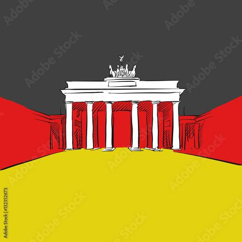 Poster Deutschland Flagge mit Brandenburger Tor
