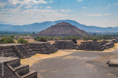 View of the Pyramid of the Sun and the Avenue of the Dead  at Teotihuacan in Mexico © kmiragaya