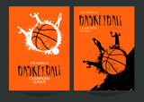 Fototapety Design for basketball. Set posters for the tournament. Abstract background. Streetball. Hand drawing lettering. EPS file is layered.