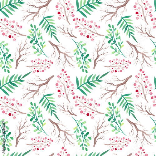 Watercolor Green Leaves And Branches Seamless Pattern - 132360237