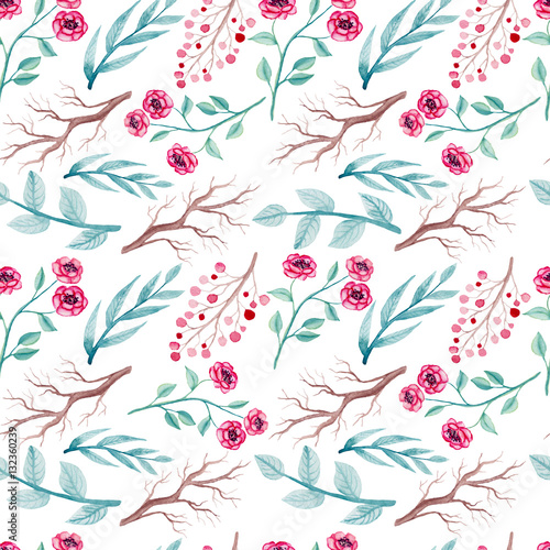 Watercolor Pink Flowers, Blue Leaves And Branches Seamless Pattern - 132360239