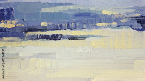 Brushstrokes of blue and yellow oil paint on canvas. Abstract background. © milka-kotka