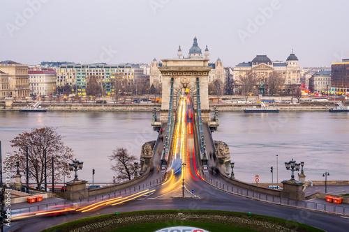 Poster traffic around budapest chain bridge, hungary