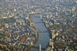 Aerial view of Central London from an airplane window