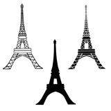 Vector Set Of 3 Black Eiffel Towers in Paris Silhouette In Different Styles. Paris. French Landmark On White Background.