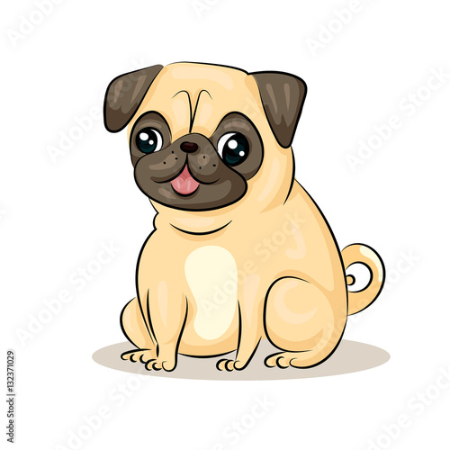 cartoon cute funny vector pug dog at the white background