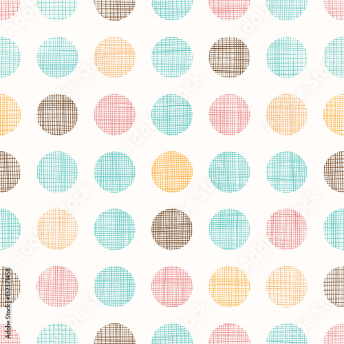 Vector Vintage Dots Circles Seamless Pattern Background With Fabric Texture. Perfect for nursery, birthday, circus or fair themed designs. - 132371458